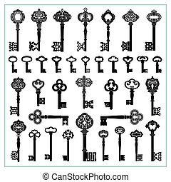Antique Keys Silhouettes - Large collection of antique keys.