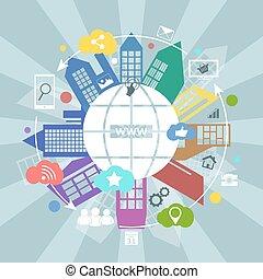Global internet vector concept illustration.