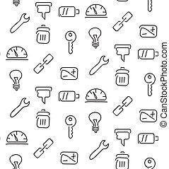 Technical tools seamless pattern. Vector illustration. EPS...