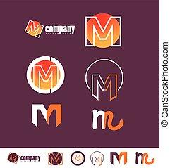 Alphabet letter M logo purple