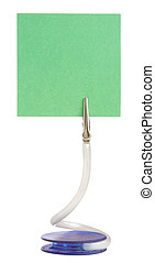 Memo holder with blank green paper