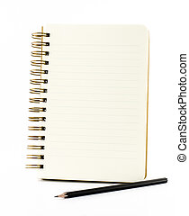 Line paper notebook with black pencil isolated on white...