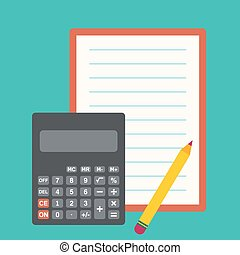 Calculator, sheets of paper and a pencil. The concept of...