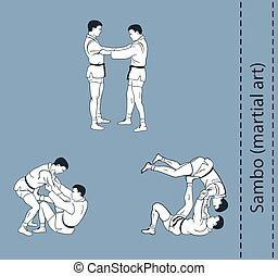 Illustration, men demonstrate the fight of SAMBO...