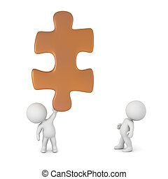 3D Characters and Puzzle Piece - Two small 3D characters and...