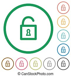 Unlocked padlock outlined flat icons - Set of Unlocked...