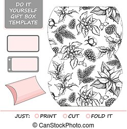 Favor, gift box die cut. Box template with winter floral...