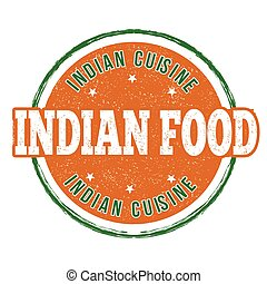 Indian food stamp - Indian food grunge rubber stamp on white...