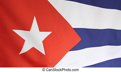 National flag of Cuba - Closeup of a fabric flag of Cuba...
