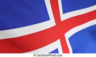 Closeup of national flag of Iceland - Closeup of a national...