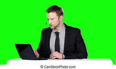 Call center operator. Green screen - Call center operator,...