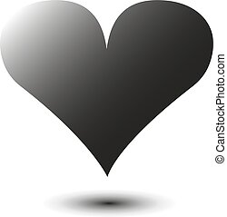 One illustration of a gray heart with shadow