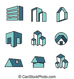 Set of real estate house logo - Set of vector real estate...