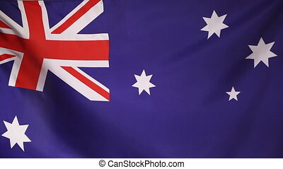 Textile flag of Australia in the wind