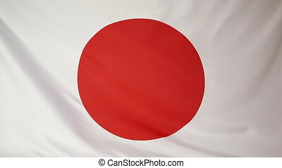 National flag of Japan, textile, moving in the wind