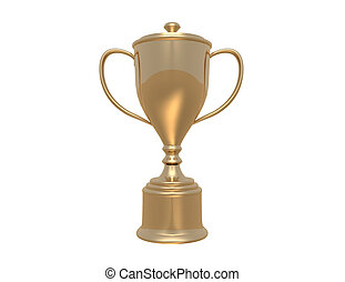 Golden  trophy cup on white background