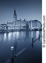 Hamburg. - Toned image of Town Hall in Hamburg downtown...