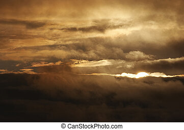 Sky and clouds at sunset after storm - Shot of the sky and...