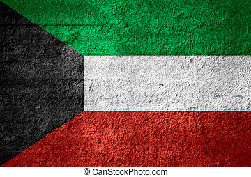flag of Kuwait or Kuwaiti banner on rough texture
