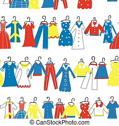 Clothes seamless pattern for tailor shop or atelier. Vector...
