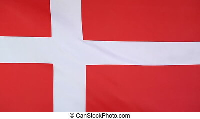 Flag of Denmark in slow motion - Textile flag of Denmark in...