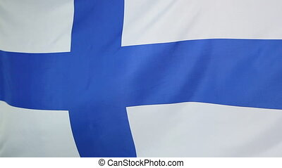Flag of Finland in slow motion - Finnish national flag in a...