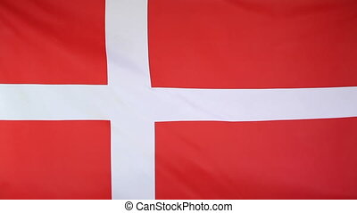 Fabric national flag of Denmark in the wind