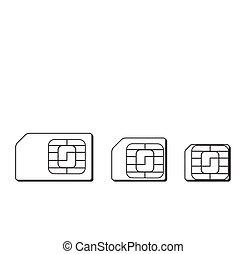 Mini, micro, nano sim cards silhouette outline. Vector...
