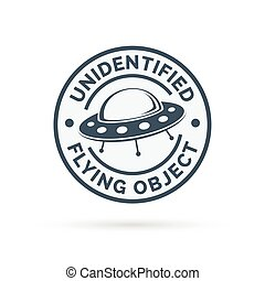 UFO icon Unidentified flying object badge Flying saucer...