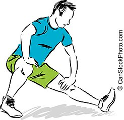 MAN STRETCHING EXERCISES ILLUSTRATI