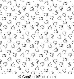 Thumb up thumb down seamless pattern. Vector illustration....