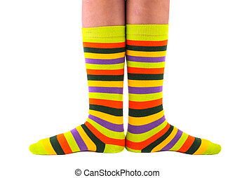 color striped socks on a white background