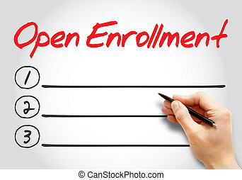 Open Enrollment blank list, health concept background