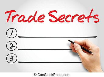 TRADE SECRETS blank list, business concept background