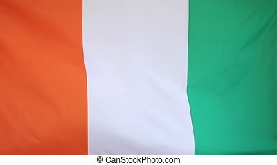Flag of Ivory Coast in slow motion - National flag of Ivory...