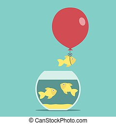 Gold fish, balloon, fishbowl - Gold fish and red balloon...