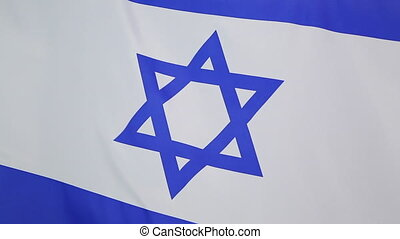 Flag of Israel in slow motion - Closeup of the flag of...