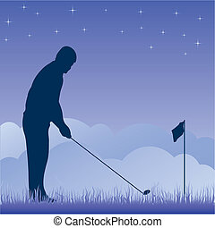 Golf players silhouette. Vector