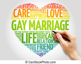 Gay marriage concept heart word cloud