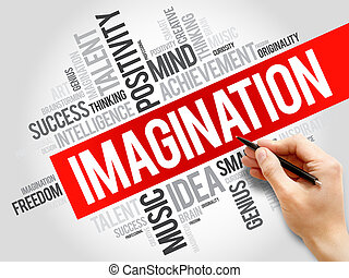 Imagination word cloud, business concept