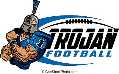 trojan football - muscular trojan football player team...