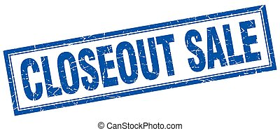 closeout sale blue grunge square stamp on white