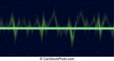 Sound waves oscillating glow, neon light. Abstract...