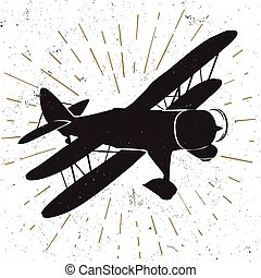 icon with biplane - Hand drawn vintage icon with biplane...