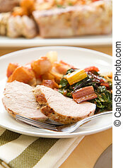 Pork Tenderloin - Pork tenderlion served with peach tomato...