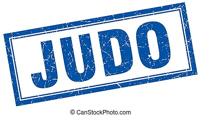 judo blue grunge square stamp on white