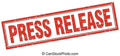 press release red grunge square stamp on white