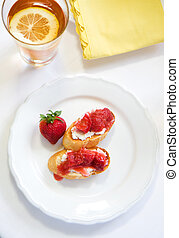 Crostini with Strawberry Rhubarb compote