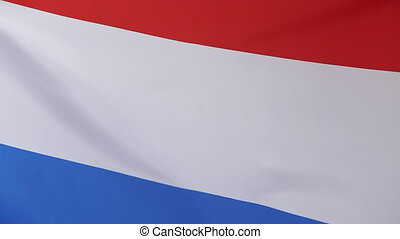 Closeup of the flag of Netherlands moving