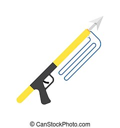 Spear gun or harpoon weapon vector isolated, spearfishing,...